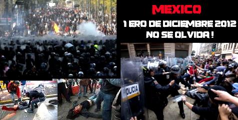 Voir les articles sur cette journée de répression: https://lechatnoiremeutier.wordpress.com/2012/12/03/mexique-repression-post-electorale-du-nouveau-pouvoir-elu/ https://lechatnoiremeutier.wordpress.com/2012/12/04/mexique-repression-lors-de-la-prise-de-pouvoir-du-nouveau-president-enrique-pena-nieto-texte-video/