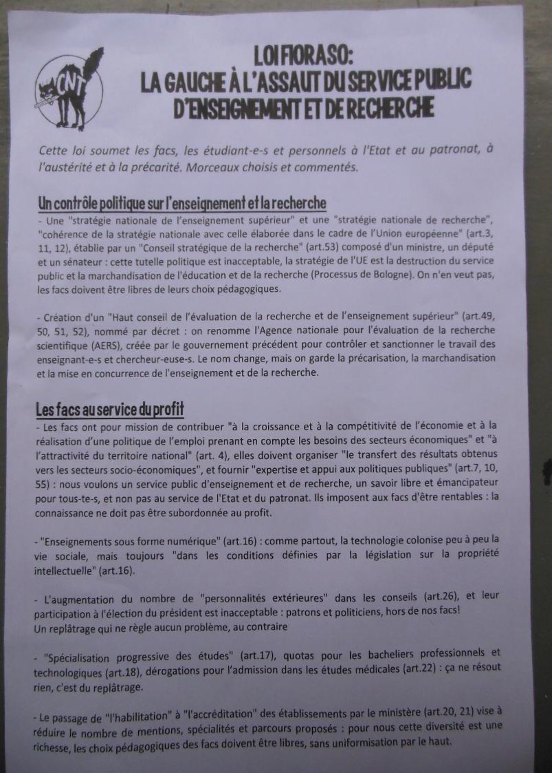 Tract (recto) distribué lors de l'AG  du 28/03/2013 sur le site d'Arsenal