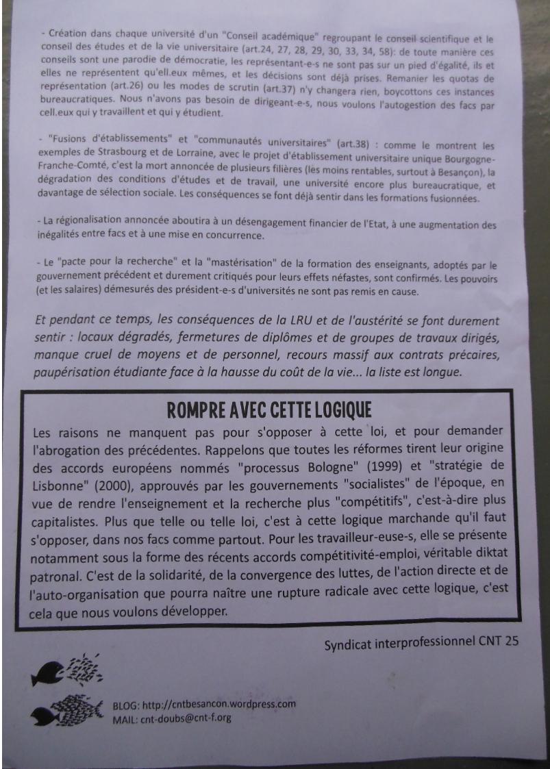 Tract (verso) distribué lors de l'AG  du 28/03/2013 sur le site d'Arsenal