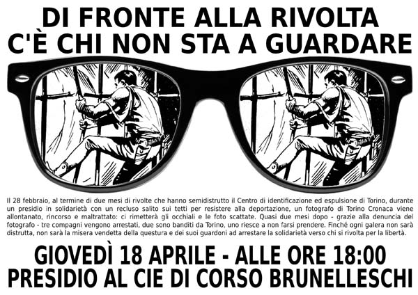 Jeudi 18 avril - 18 heures  Rassemblement au CIE de corso brunelleschi
