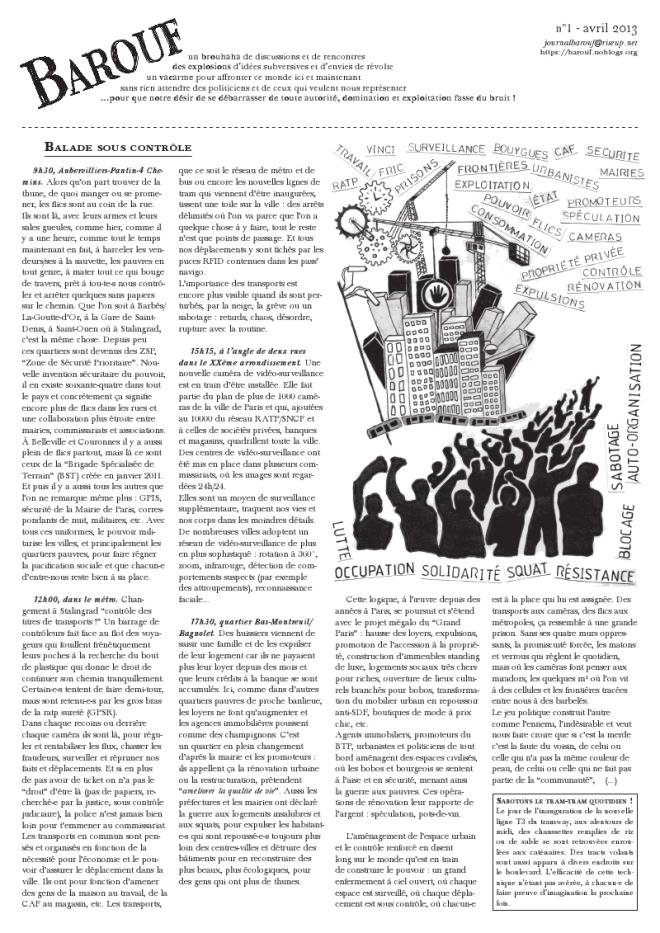 """Cliquer pour télécharger le journal """"Barouf"""" #1 au format PDF"""